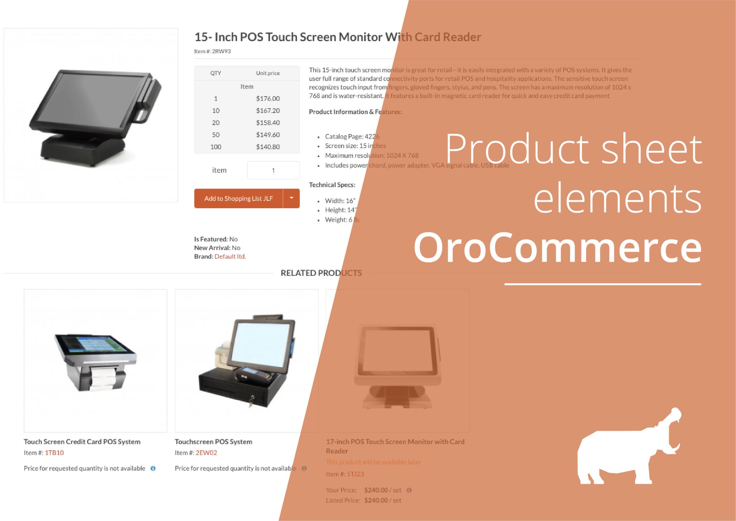 OroCommerce product sheet