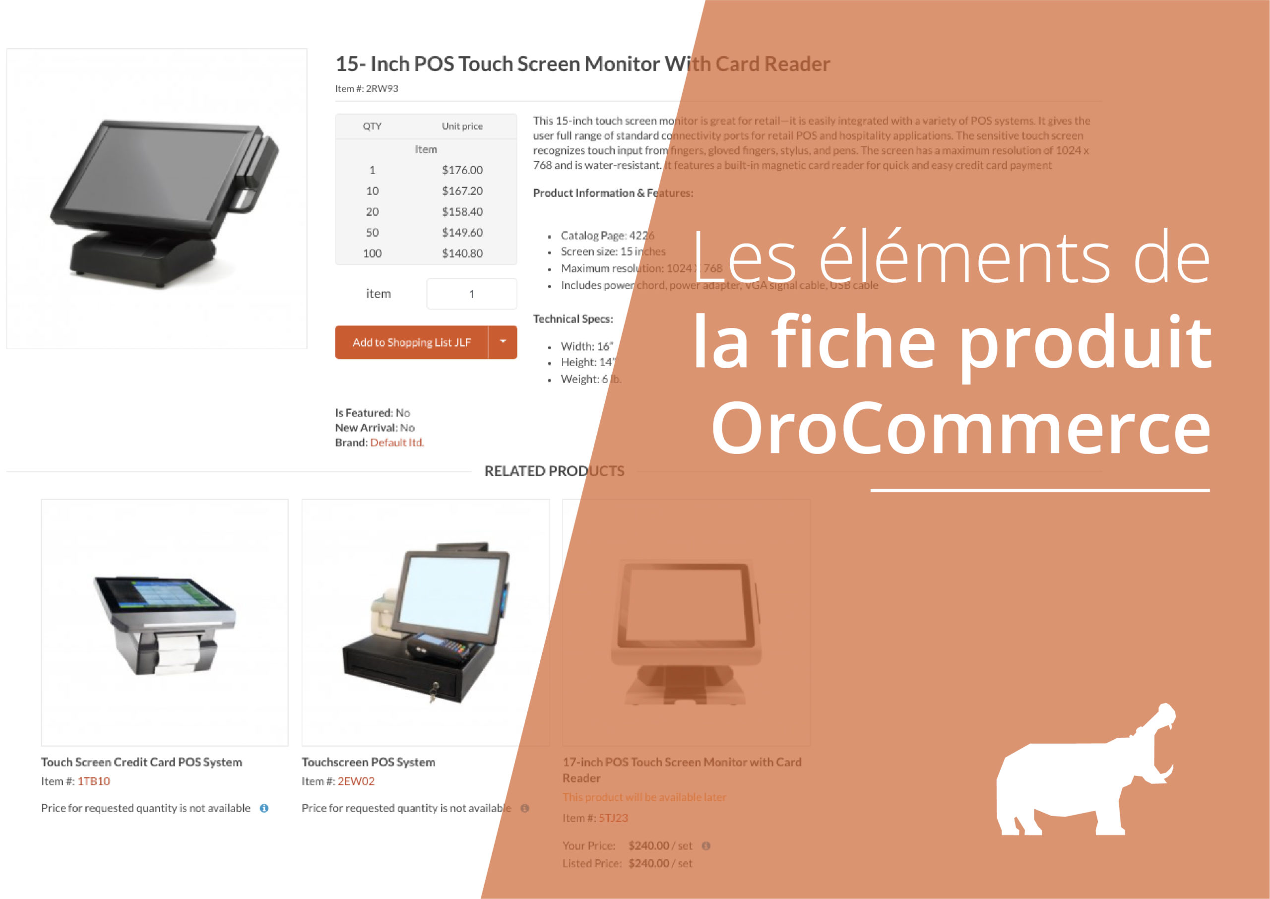fiche produit OroCommerce